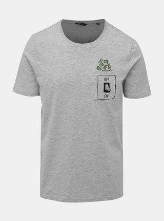 Svetlošedé žíhané tričko s vreckom ONLY & SONS Barney