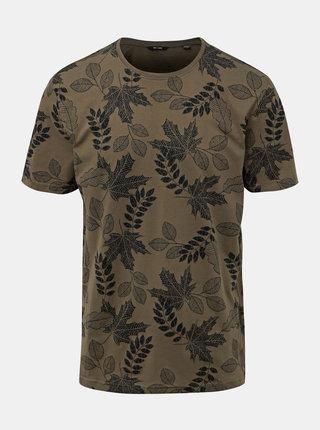 Kaki vzorované tričko ONLY & SONS Angus