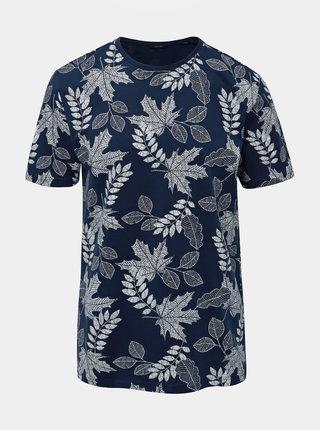Tmavomodré vzorované tričko ONLY & SONS Angus