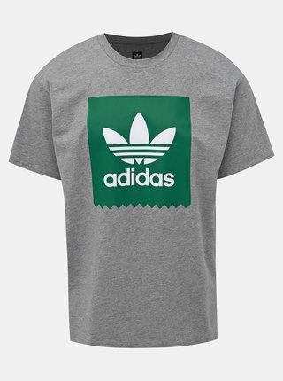 Šedé pánske žíhané tričko s potlačou adidas Originals