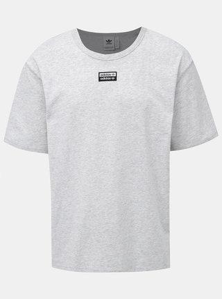Svetlošedé pánske žíhané tričko s nášivkou adidas Originals