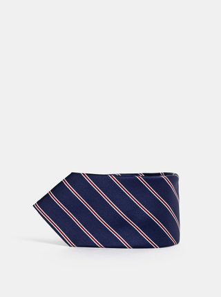Tmavomodrá pruhovaná kravata Jack & Jones Troy