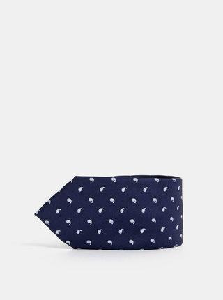 Tmavě modrá vzorovaná kravata Jack & Jones Troy