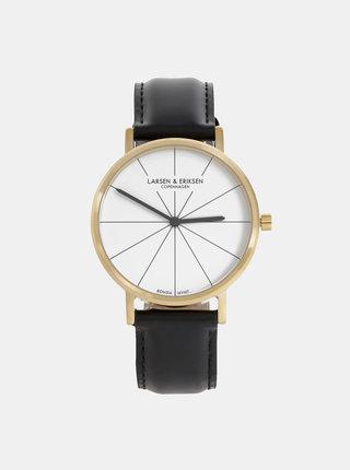 Dámske hodinky s čiernym koženým remienkom LARSEN & ERIKSEN