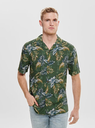 Zelená kvetovaná regular fit košeľa ONLY & SONS Thomas
