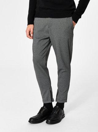 Šedé žíhané zkrácené kalhoty Selected Homme Alex