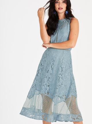 Rochie midi albastra din dantela Little Mistress