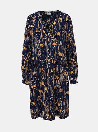 Tmavomodré kvetované košeľové šaty VILA Aleta