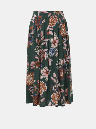Kaki kvetovaná midi sukňa Jacqueline de Yong Mandi