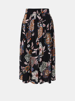 Čierna kvetovaná midi sukňa Jacqueline de Yong Mandi