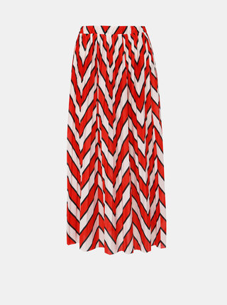 Bílo-červená vzorovaná plisovaná midi sukně Jacqueline de Yong Harper