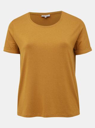Horčicové basic tričko ONLY CARMAKOMA Carma