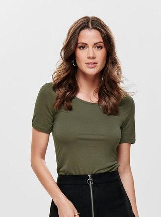 Kaki tričko s pásikmi na chrbte ONLY Carrie