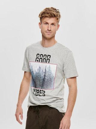 Svetlošedé žíhané tričko s potlačou ONLY & SONS Bucks