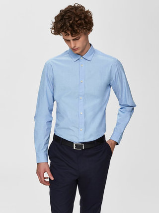 Modrá slim fit košeľa Selected Homme Mark