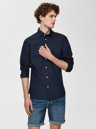 Tmavě modrá slim fit košile Selected Homme Mark