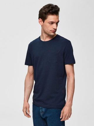 Tmavě modré tričko s kapsou Selected Homme Jared