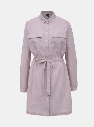 Růžové pruhované košilové šaty VERO MODA Luca