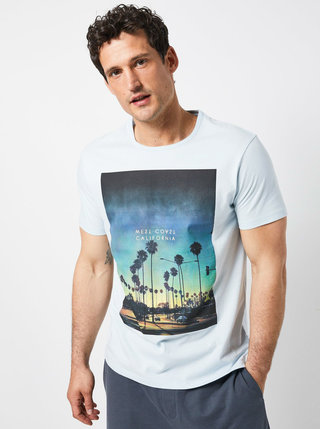 Svetlomodré tričko s potlačou Burton Menswear London
