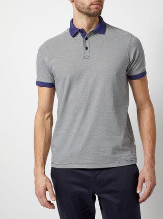Bielo-modré pruhované polo tričko Burton Menswear London
