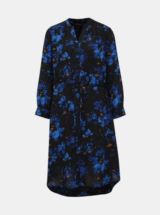 Tmavě modré květované košilové šaty Selected Femme Damina