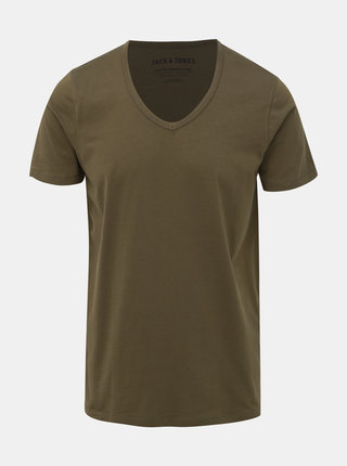 Khaki basic tričko Jack & Jones Basic