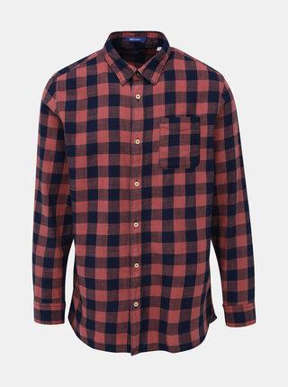 Modro-rúžová kockovaná košeľa Jack & Jones Marco