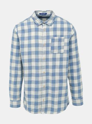 Modro-krémová kockovaná košeľa Jack & Jones Marco