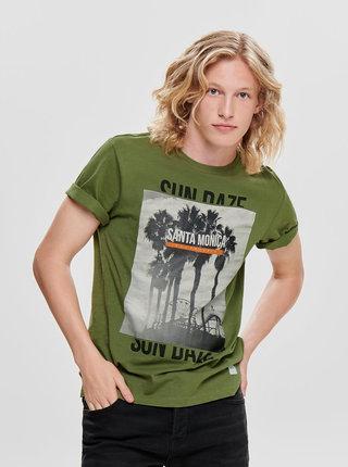 Zelené tričko s potlačou ONLY & SONS Layrence