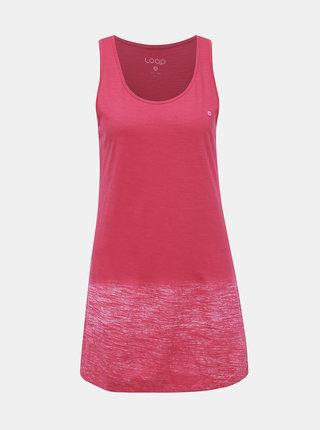 Tmavě růžové dámské žíhané dlouhé tílko LOAP Blurri