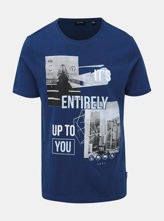 Tmavomodré tričko s potlačou ONLY & SONS Berge