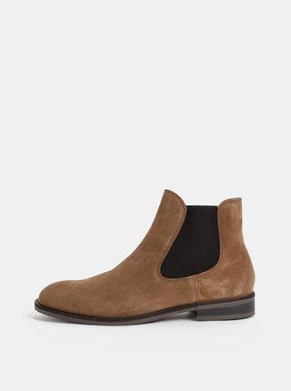 Hnědé semišové chelsea boty Selected Homme Louis