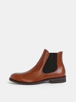 Hnědé kožené chelsea boty Selected Homme Louis