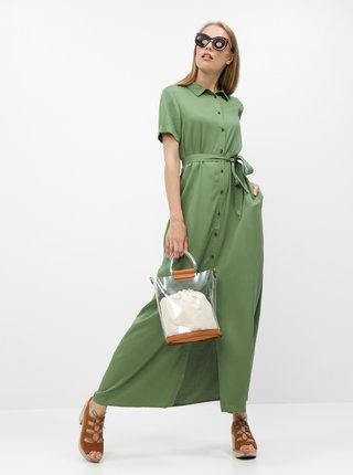 Zelené košeľové maxišaty ZOOT