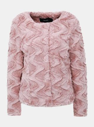 Růžový krátký kabát z umělé kožešiny VERO MODA Curl
