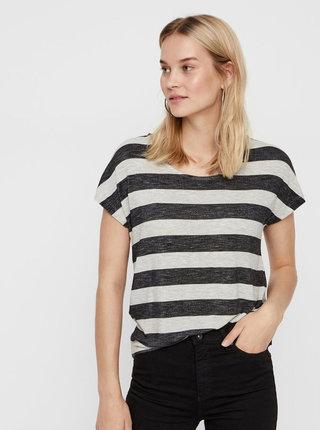 Krémovo–čierne pruhované tričko VERO MODA Wide