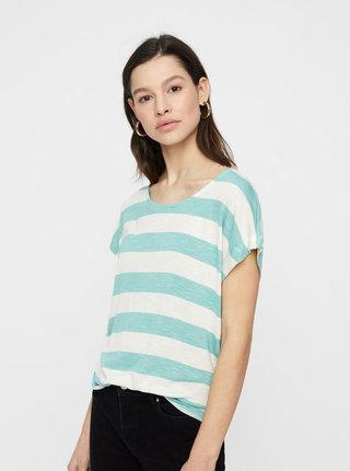 Krémovo–zelené pruhované tričko VERO MODA Wide