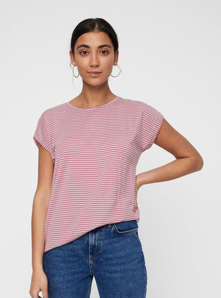 Tricou basic alb-roz in dungi AWARE by VERO MODA Mava