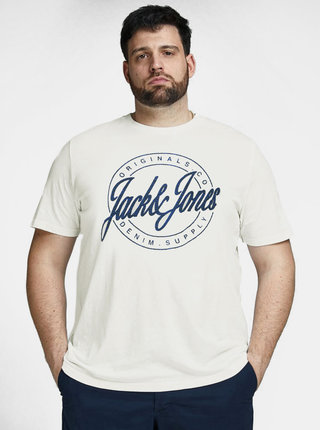 Tricou alb cu imprimeu Jack & Jones Hazy