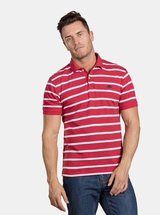Tricou polo rosu in dungi Raging Bull