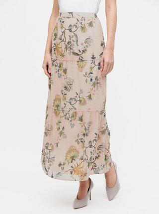 Růžová květovaná maxi sukně VILA Almira