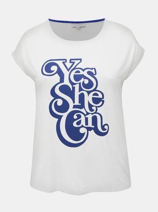 Bílé tričko s potiskem ONLY CARMAKOMA Yes