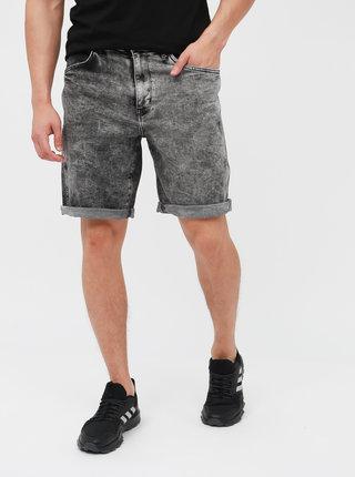 Pantaloni scurti din denim gri cu aspect prespalat pentru barbati - Wrangler