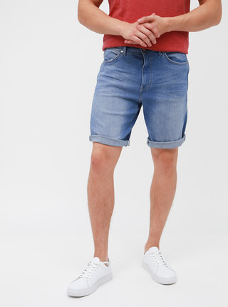 Pantaloni scurti din denim albastri cu aspect prespalat pentru barbati - Wrangler