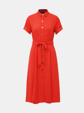 Oranžové košilové midi šaty Dorothy Perkins