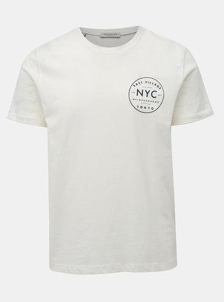 Krémové tričko s potlačou na chrbte Selected Homme Paul