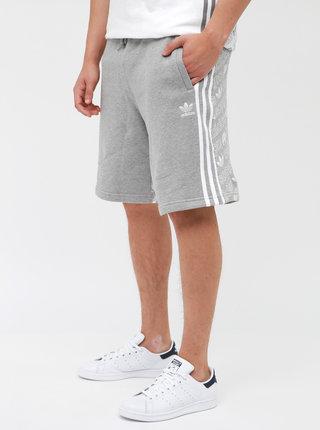 Světle šedé pánské teplákové kraťasy s potiskem adidas Originals Monogram