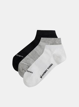 Sada troch ponožiek v bielej, šedej a čiernej farbe Kari Traa Tafis