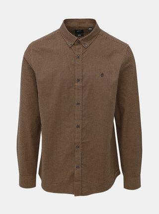 Hnedá kockovaná slim fit košeľa Burton Menswear London Rust