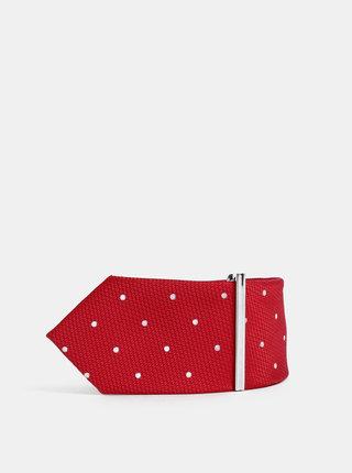 Červená vzorovaná slim kravata se sponou Burton Menswear London Clip